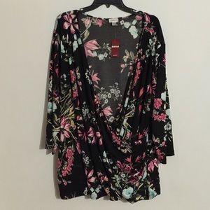 Plus Size Floral Wrap Top